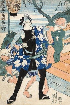 Utagawa Kuniyoshi: Das Attentat der Verschwörer auf Fürst Ashikaga Yorikane (Erster Akt aus dem Kabuki-Schauspiel Ein Narrenspiegel) - linke Seite von