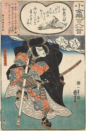 Utagawa Kuniyoshi: Die Hofdame Izumi Shikibu und ihr Gedicht Bald muss ich sterben sowie Ichikawa Danjuro VII. als Tairano Kagekiyo (Gedicht 56 aus der Serie Imaginierte schauspielerische Darstellungen der 100 Ogura-Gedichte und ihrer Dichter)
