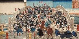 Utagawa Kuniyoshi: Die herrenlosen Samurai kehren über die Ryogoku-Brücke zurück