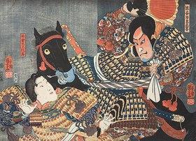 Utagawa Kuniyoshi: Naozane tötet Atsumori (Aus dem Kabuki-Schauspiel Keimendes Grün auf dem Schlachtfeld von Ichinotani)