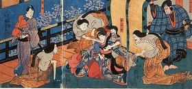 Utagawa Kuniyoshi: Die Palastdamen quälen die eifersüchtige Omiwa (Aus dem Kabuki-Schauspiel Chronik der Frauen von Imosegawa)