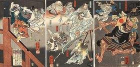 Utagawa Kuniyoshi: Auf der Brücke kämpfen Ushiwakamaru und der Tengu gegen Benkei