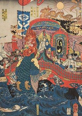 Utagawa Kuniyoshi: Das Flaggschiff der Taira und das Ende von Kaiser Antoku