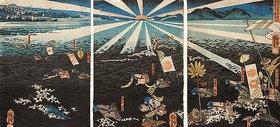 Utagawa Kuniyoshi: Moritsuna stürmt die Festung von Kojima