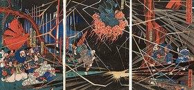 Utagawa Kuniyoshi: Der Rachegeist des Yoshihira erschlägt Namba Jiro mit einem Blitz (Aus dem Kabuki-Schauspiel Minamoto und Taira am Wasserfall von Nunobiki)
