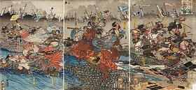 Utagawa Kuniyoshi: Der Kampf zwischen Shingen und Kenshin (Aus der Serie Die Schlachten von Kawanakajima [1553-1563])