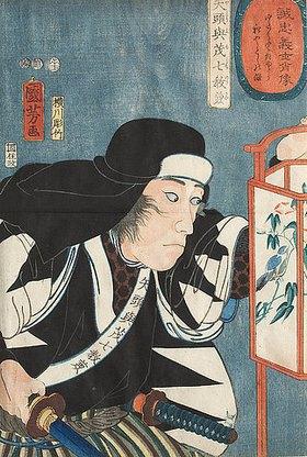 Utagawa Kuniyoshi: Norikane mit einer Laterne (Aus der Serie Die wahrhaft treuen Gefolgsleute im Porträt)