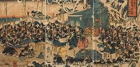 Utagawa Kuniyoshi: Wie in der Ära Ryakuo 47 Samurai vom Hofe des Fürsten Enya dessen Todfeind Kono Moronao in der Nacht angriffen