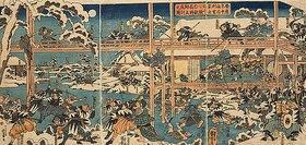 Utagawa Kuniyoshi: Die Rache der herrenlosen Samurai: Die Feier am Grab des Fürsten Enya (Aus dem Chushingura)