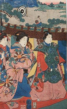 Utagawa Kuniyoshi: Ein Fest im Freien mit Bogenschießen im Hintergrund - Verso von 38251