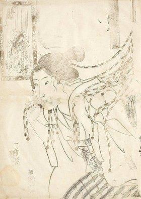 Utagawa Kuniyoshi: Vorzeichnung zu: Hatsuhana (Itono Taki) (Aus der Serie Frauen, deren Gebete erhört wurden, in wasserfallgestreiften Kimonos)
