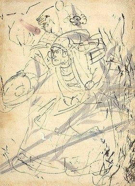 Utagawa Kuniyoshi: Studie einer anstürmenden Figur (recto) Studie eines Bambus (verso)