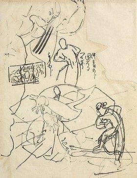 Utagawa Kuniyoshi: Studien mit Figuren und Skizzen eines Triptychons (recto) Figurenstudie; Notizen: die Mitte färben / Kuniyoshi / mehr nach unten (verso)