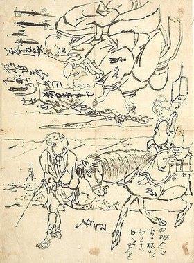 Utagawa Kuniyoshi: Skizzen für Buchillustrationen Ein Buchverleiher besucht eine junge Witwe (oben); Ein Bauer bringt seine Frau auf dem Pferd nach Hause (unten)