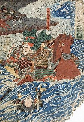 Utagawa Kuniyoshi: Der Kampf zwischen Shingen und Kenshin (Aus der Serie Die Schlachten von Kawanakajima [1553-1563]) - rechte Seite von