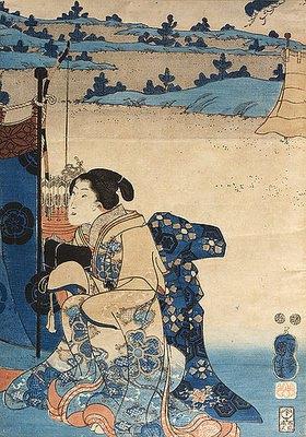 Utagawa Kuniyoshi: Ein Fest im Freien mit Bogenschießen im Hintergrund - Recto von 38219