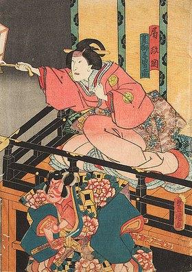 Utagawa Kunisada: Die Amme Masaoka und der treue Otokonosuke jagen den in eine Ratte verwandelten Nikki Danjo (Fünfter Akt aus dem Kabuki-Schauspiel Kostbarer Weihrauch und Herbstblüten in Sendai)