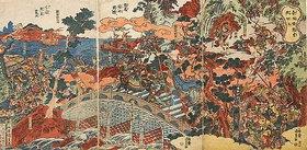 Utagawa Kunisada: Choun rettet den Infanten bei Chohanha. Nach dem Roman Die Geschichte der drei Reiche