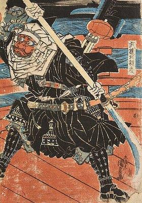Utagawa Kunisada: Benkei kämpft gegen Ushiwakamaru auf der Brücke