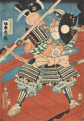 Utagawa Kunisada: Bando Hikosaburo als Benkei auf der Gojo-Brücke in Kyoto