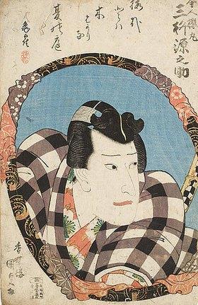 Utagawa Kunisada: Mimasu Gennosuke in der Titelrolle des Schauspiels In selbiger Herrschaft Diensten Sakuramar (Aus der Serie Geschwisterbilder, mit imaginierten schauspielerischen Darstellungen von 30 ausgewählten Bäumen und Blüten). Um 1834