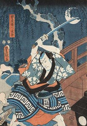Utagawa Kunisada: Bando Hikosaburo IV. als der Ehrenmann Tohei (Aus dem Kabuki-Schauspiel Im Schatten der Bäume ein Hauch von Date)