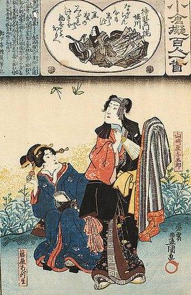 Utagawa Kunisada: Taikemmonin Horikawa und ihr Gedicht Nie wollt ich im Herzen sowie Yogoro und seine Geliebte Azuma bei der Betrachtung von Schmetterlingen (Gedicht 80 aus der Serie Imaginierte schauspielerische Darstellungen der hundert Ogura-Gedichte und ihrer Dichter)