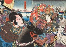 Utagawa Kunisada: Die Feinde Atsumori und Naozane (Aus dem Kabuki-Schauspiel Keimendes Grün auf dem Schlachtfeld von Ichinotani)
