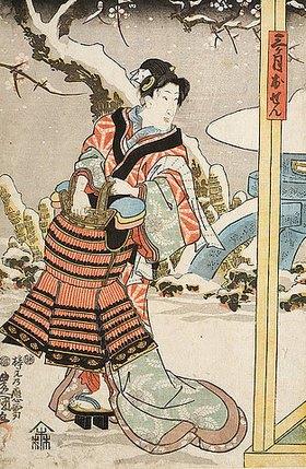 Utagawa Kunisada: Die Frauenrolle der Mikazuki Osen (Aus dem Kabuki Schauspiel Acht Ritter der Liebe aus dem Hause Minamoto)