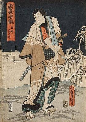 Utagawa Kunisada: Ichikawa Ichizo als Amano Shokuro in einer Winterlandschaft (Aus der Serie Ein Spiegel der Helden unserer Tage)