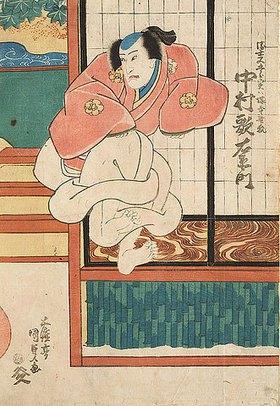 Utagawa Kunisada: Nakamura Utaemon in der Rolle des Ukiyo Matagoro, der in Wirklichkeit ein Fuchs vom  Friedhof ist (Aus dem Kabuki-Schauspiel Wenn der Schnee fällt in den Bergen von Yoshino)