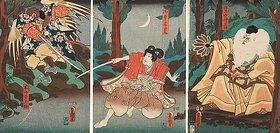Utagawa Kunisada: Tengu-Abtkönig Sojobo erteilt Ushiwakamaru Fechtunterricht