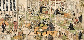 Utagawa Kunisada: Die Ruheräume im Inneren des Theaters Nakamuraza in Edo bei ausverkauftem Haus