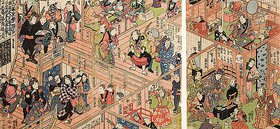 Utagawa Kunisada: Blick vom zweiten Stockwerk ins Innere des Ichimura-Theaters in Edo