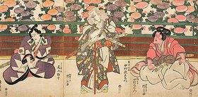 Utagawa Kunisada: Die Hauptdarsteller Nakumara Utaemon und Onoe Baiko (Aus dem Kabuki-Schauspiel Meister Kiichis Vademecum der Kriegskunst)