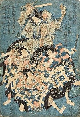 Utagawa Kunisada: Wagenszene (Dritter Akt aus dem Kabuki-Schauspiel Die Schule der Schreibkunst des Hauses Sugawara)