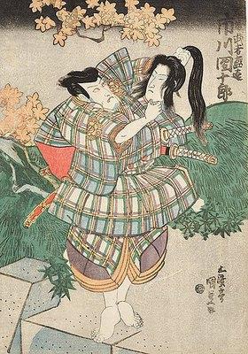 Utagawa Kunisada: Ichikawa Ebizo V. (früher Danjuro VII.) als Entomusha Morito mit dem Kopf der Kesa Gozen