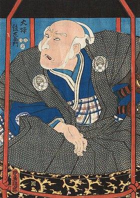 Utagawa Kunisada: Der Schauspieler Morita Kanya XI. als Otsubo Magozaemon in einer Sänfte (Aus dem Kabuki-Schauspiel Neues, unterhaltsam gewirktes Garn aus Kyushu)