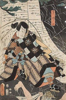 Utagawa Kunisada: Arashi Rikaku II. als Washizu Rokuro (Aus dem Kabuki-Schauspiel Elmsfeuer)