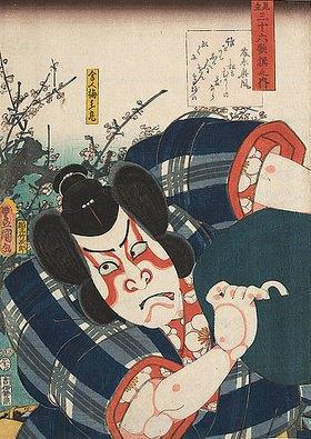 Utagawa Kunisada: Fujiwarano Okikazes Gedicht Wem denn noch und der Samurai Umeomaru (Aus der Serie Imaginierte schauspielerische Darstellungen von 36 Gedichten)