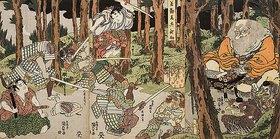 Utagawa Kunisada: Ushiwakamaru, der junge Yoshitsune, erhält Fechtunterricht