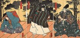 Utagawa Kunisada: Minamotono Yoshitsune und Musashibo Benkei vor Fürst Togashino Saemon (Aus dem Kabuki-Schauspiel Benkeis Spendenliste)