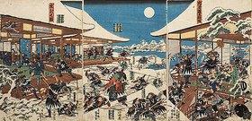 Utagawa Kunisada: Die Vollmondnacht des Angriffs der getreuen Samurai (Elfter Akt aus dem Kabuki-Schauspiel Vorlage zur Schönschrift: Ein Schatzhaus von getreuen Samurai)