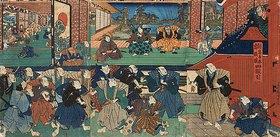 Utagawa Kunisada: Der Bote des Shogun verkündet dem Haus des Fürsten Enya, dass das gesamte Lehen konfisziert wird (Vierter Akt aus dem Kabuki-Schauspiel Vorlage zur Schönschrift: Ein Schatzhaus von getreuen Samurai)