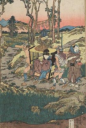 Utagawa Kunisada: Der Freudenhausbesitzer lässt Okaru in einer Sänfte fort tragen (Sechster Akt aus dem Kabuki-Schauspiel Vorlage zur Schönschrift: Ein Schatzhaus von getreuen Samurai)