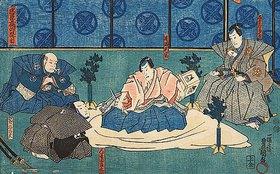 Utagawa Kunisada: Fürst Enya richtet sich selbst (Vierter Akt aus dem Kabuki-Schauspiel Vorlage zur Schönschrift: Ein Schatzhaus von getreuen Samurai)