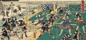 Utagawa Kunisada: Der nächtliche Überfall auf die Residenz des Kono Moronao (Elfter Akt aus dem Kabuki-Schauspiel Vorlage zur Schönschrift: Ein Schatzhaus von getreuen Samurai)