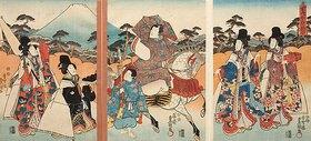 Utagawa Kunisada: Der Galan Ashikaya Hikarushi mit seinem Pagen unterwegs mit vier schönen Damen