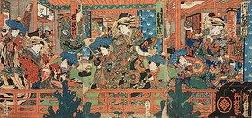 Utagawa Kunisada: Kurtisanen mit ihren Schülerinnen im Freudenhaus