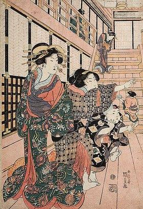 Utagawa Kunisada: Kurtisanen, ihre Dienerinnen und Schülerinnen spielen Blindekuh